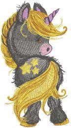 Cute baby unicorn embroidery design