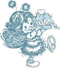 Blue cute fairy with cake embroidery design
