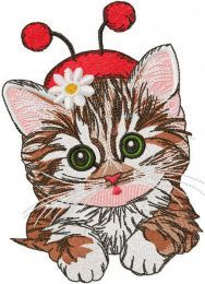 Cute kitten in ladybug costume embroidery design