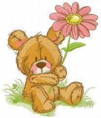 Cute teddy bear with pyrethrum