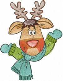 Deer in a winter scarf embroidery design