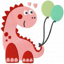Dino with balloons embroidery design