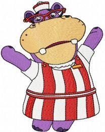 Doc McStuffins Hallie Hippo embroidery design