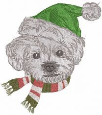 Dog winter outfit embroidery design