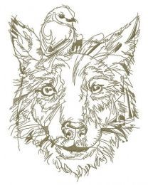 Dog with bird on head sketch embroidery design