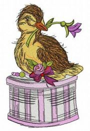 Duck on gift box embroidery design