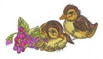 Ducklings with violets 2