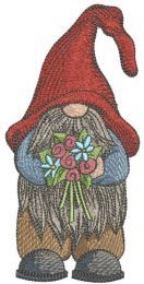 Dwarf with flowers embroidery design