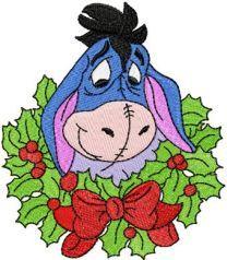 Eeyore Christmas machine embroidery design