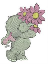 Elephant with pink flower embroidery design