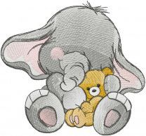 Elephant with teddy bear embroidery design
