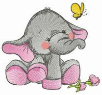 Elephant's touching acquaintance with butterfly embroidery design
