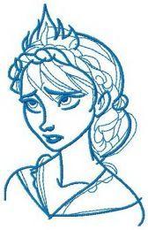 Elsa sketch machine embroidery design 6
