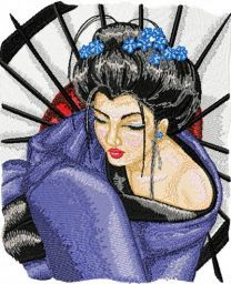 Geisha with Umbrella 2 embroidery design