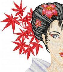 Geisha with Flower embroidery design 1
