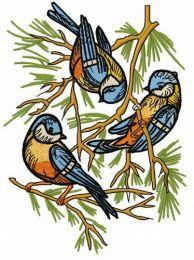 Eurasian blue tits embroidery design 2