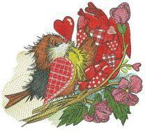 European robin with Valentine