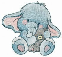 Even elephants love teddy bears embroidery design