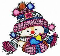 Even snowman likes knitted hats
