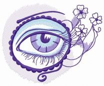 Eye in circle and flowers