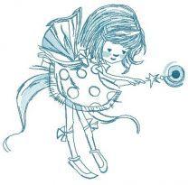 Shy fairy in polka dot dress