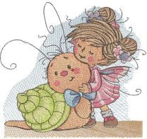 Fairy meet with snail embroidery design