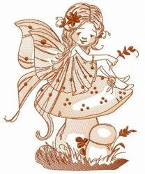 Fairy sitting on mushroom embroidery design