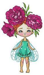 Fairy with peony wreath