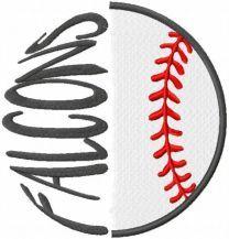 Falcons baseball logo embroidery design