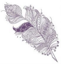 Feather with floral and geometric pattern