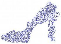Floral high heel shoe machine embroidery design 2