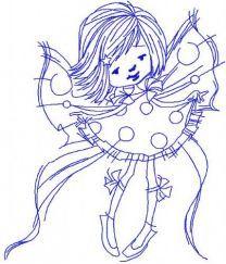 Flying fairy redwork 3