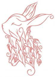 Foliar bunny embroidery design 2