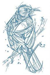 Forest bird sketch embroidery design