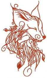 Forest fox spirit embroidery design 3
