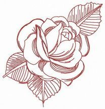 Fresh rose embroidery design 2