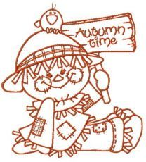 Friendly scarecrow embroidery design 3