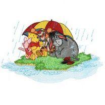 Winnie Pooh and friends under a rain