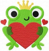 Princess frog with heart free embroidery design
