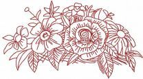 Garden flowers bouquet redwork