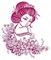Geisha and flowers 2