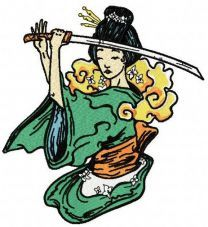 Geisha with sword machine embroidery design