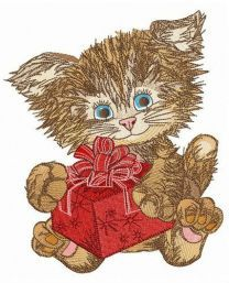 Gift for shaggy kitten embroidery design