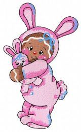 Gingerbread girl in bunny costume