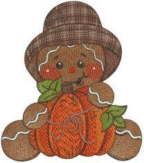 Gingerbread man with pumpkin