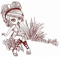 Girl in forest embroidery design 4