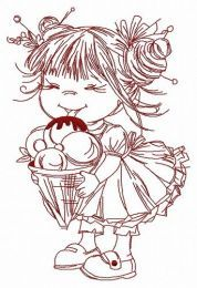 Girl with ice cream 3 embroidery design