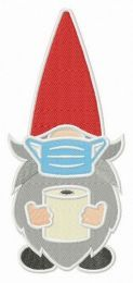 Gnome with face mask embroidery design