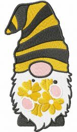Gnome with yellow flowers embroidery design