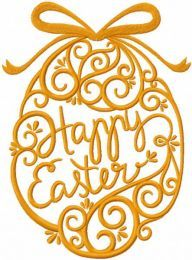 Gold Easter egg embroidery design
